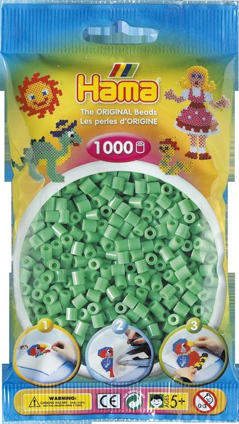 Pack of 1000 Hama Midi Beads - Light Green (207-11)