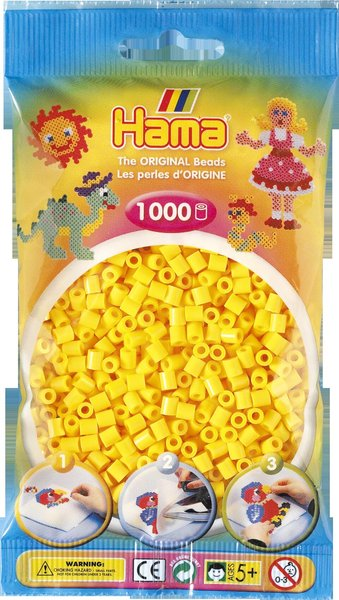 Pack of 1000 Hama Midi Beads - Yellow (207-03)