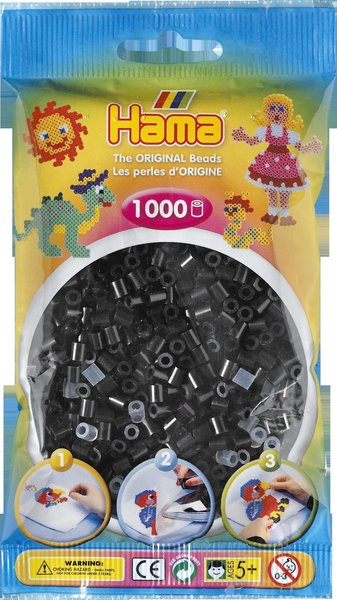Pack of 1000 Hama Midi Beads - Black (207-18)
