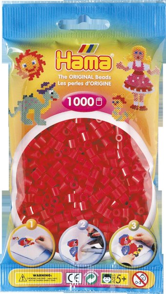 Pack of 1000 Hama Midi Beads - Red (207-05)