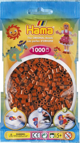 Pack of 1000 Hama Midi Beads - Reddish Brown (207-20)