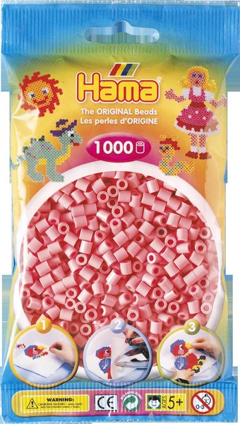 Pack of 1000 Hama Midi Beads - Pink (207-06)