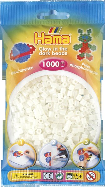 Pack of 1000 Hama Midi Beads - Green Glow in The Dark (207-55)