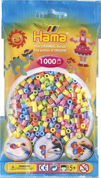 Pack of 1000 Hama Midi Beads - Pastel Mix (207-50)