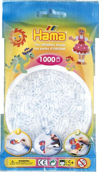 Pack of 1000 Hama Midi Beads - Clear (207-19)