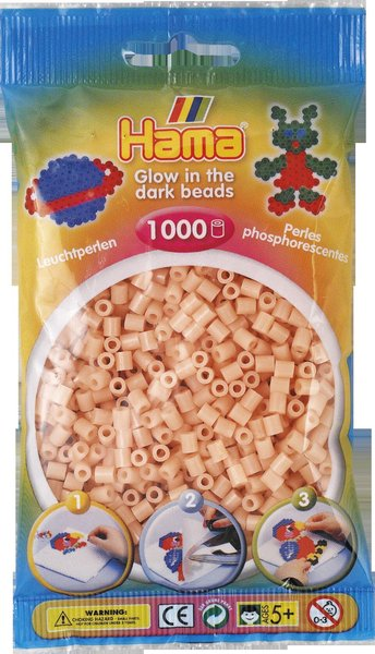 Pack of 1000 Hama Midi Beads - Red Glow in the Dark (207-56)