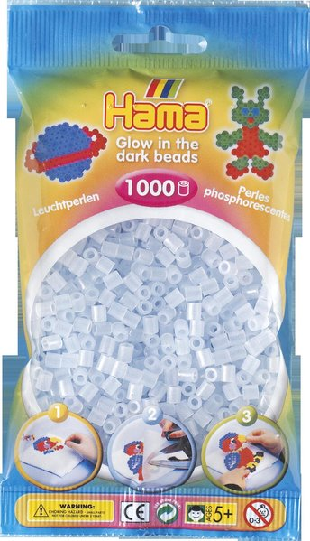 Pack of 1000 Hama Midi Beads - Blue Glow in the Dark (207-57)