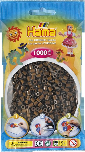 Pack of 1000 Hama Midi Beads - Dark Brown (207-12)