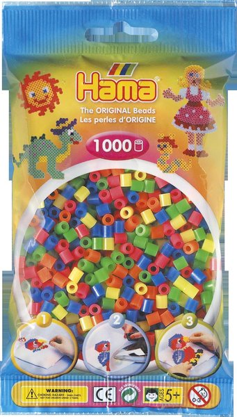 Pack of 1000 Hama Midi Beads - Solid Flourescent Mix (207-52)