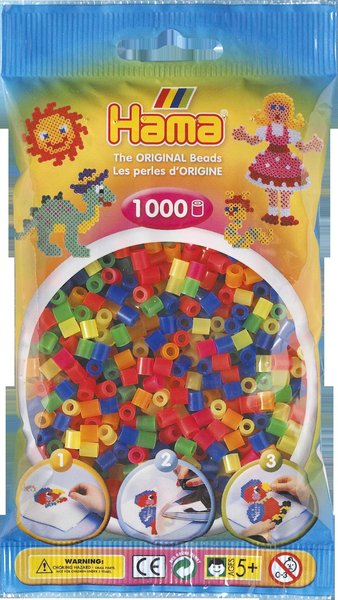 Pack of 1000 Hama Midi Beads - Transparent Neon Mix (207-51)
