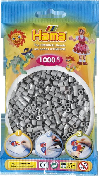 Pack of 1000 Hama Midi Beads - Grey (207-17)