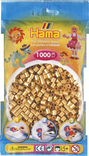 Pack of 1000 Hama Midi Beads - Metallic Gold (207-61)