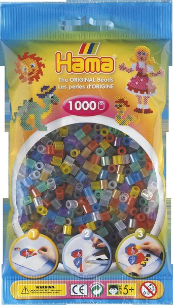 Pack of 1000 Hama Midi Beads - Translucent Mix (207-53)