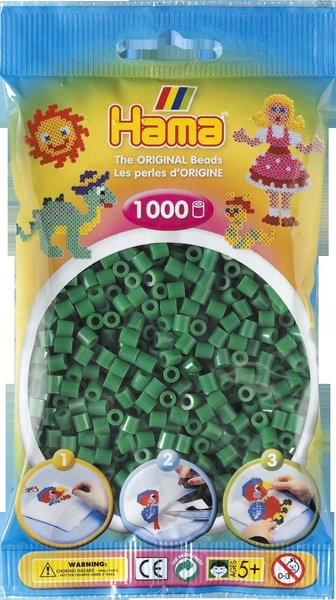 Pack of 1000 Hama Midi Beads - Green (207-10)