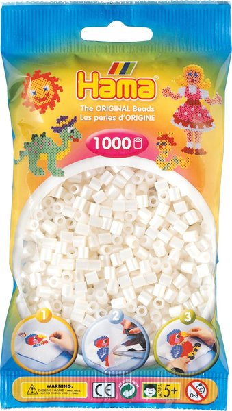 Pack of 1000 Hama Midi Beads - Pearl (207-64)