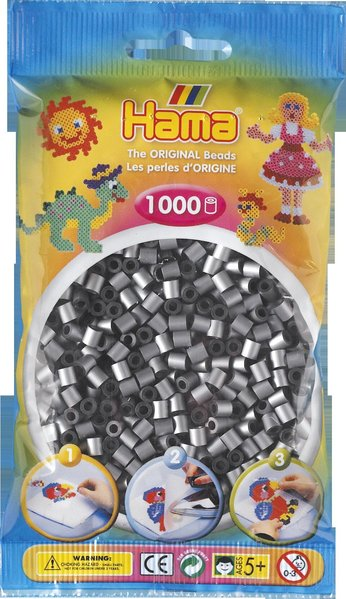 Pack of 1000 Hama Midi Beads - Metallic Silver (207-62)