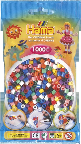 Pack of 1000 Hama Midi Beads - Solid Mix (207-00)