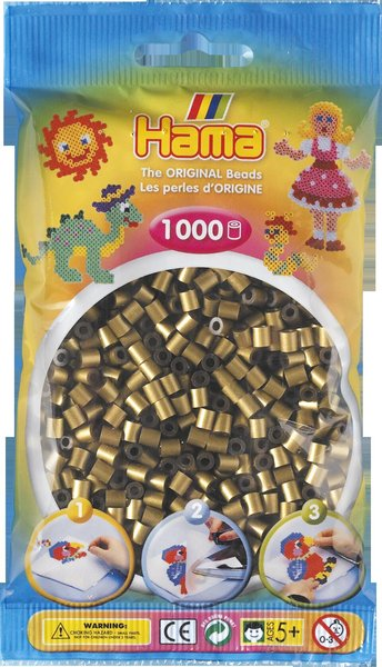 Pack of 1000 Hama Midi Beads - Metallic Bronze (207-63)