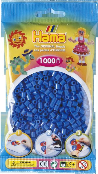 Pack of 1000 Hama Midi Beads - Light Blue (207-09)