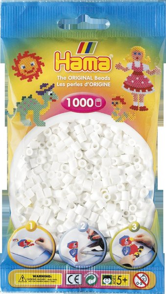 Pack of 1000 Hama Midi Beads - White (207-01)