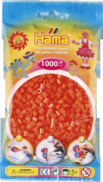 Pack of 1000 Hama Midi Beads - Orange (207-04)