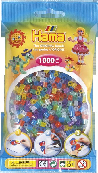 Pack of 1000 Hama Midi Beads - Glitter Mix (207-54)