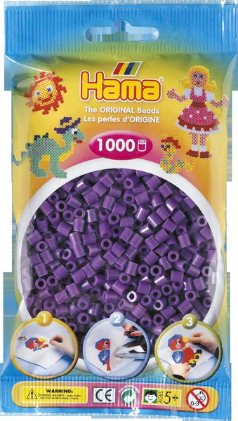 Pack of 1000 Hama Midi Beads - Purple (207-07)