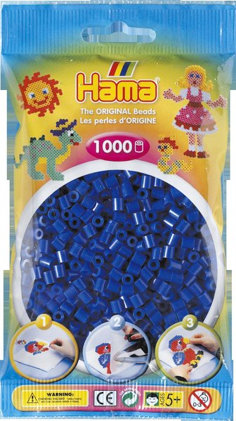 Pack of 1000 Hama Midi Beads - Dark Blue (207-08)