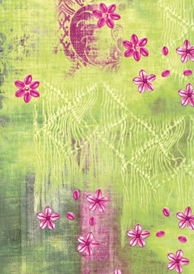 Decopatch Sheet - Patterned Green with Pink Flowers (384)