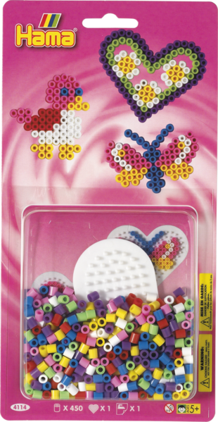 Small Hama Midi Bead Kit - Bird, Butterfly and Heart (4114)