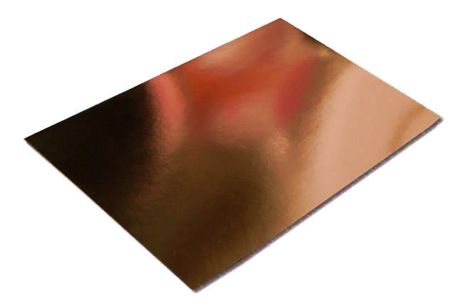 Pack of 10 A4 Sheets of Copper/Orange Mirror Card 250gsm