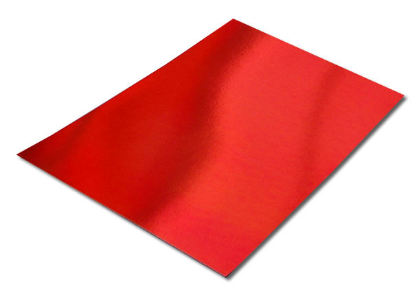Pack of 10 A4 Sheets of Red Mirror Card 250gsm