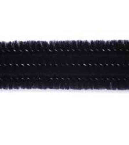 "Pack of 25 12"" Pipe Cleaners / Chenille Stems - Black"
