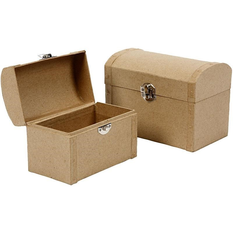 Set of 2 paper mache treasure chest boxes ebay for Craft paper mache boxes