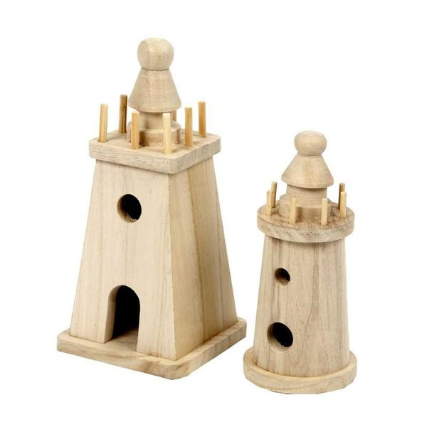 Pack of 2 Assorted Wooden Light Houses