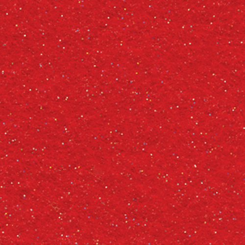"Polyester Felt Sheet 9"" x 12"" in Red Glitter"