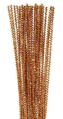 "Pack of 25 12"" Pipe Cleaners / Tinsel Stems - Gold"
