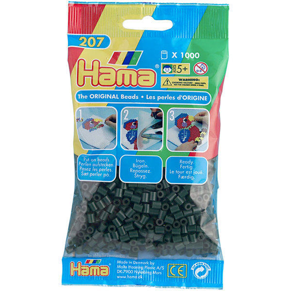 Pack of 1000 Hama Midi Beads - Dark Green (207-28)