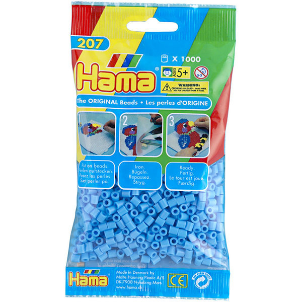Pack of 1000 Hama Midi Beads - Pastel Blue (207-46)