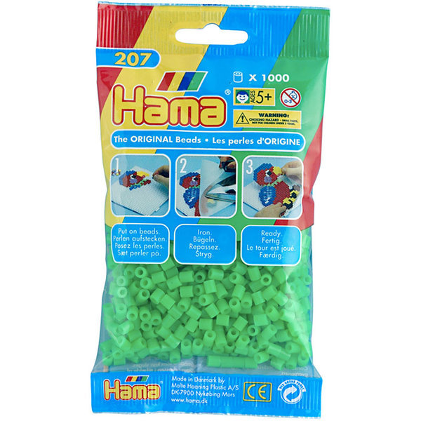 Pack of 1000 Hama Midi Beads - Flourescent Green (207-42)