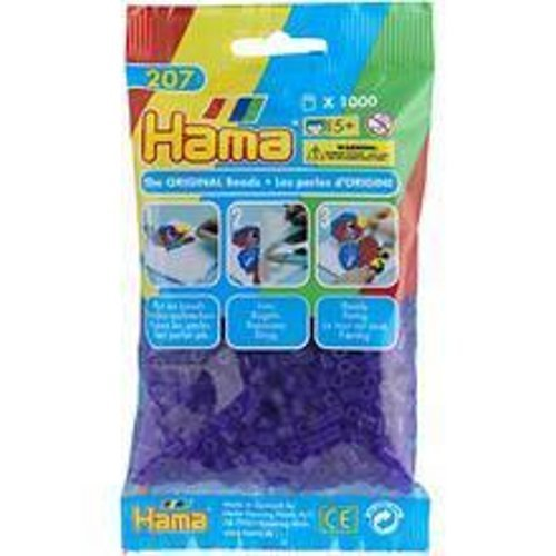 Pack of 1000 Hama Midi Beads - Transparent Purple (207-24)