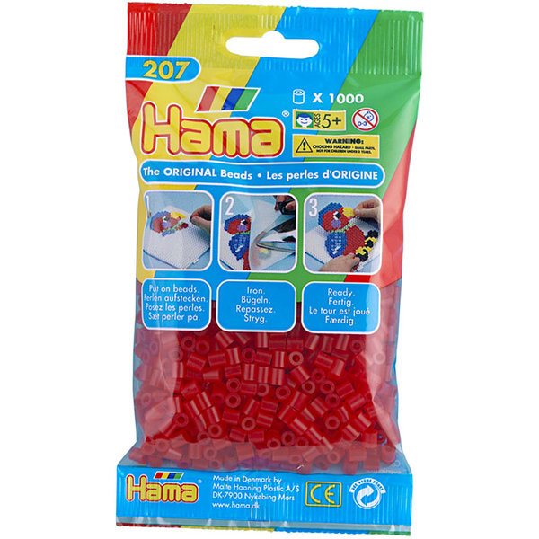 Pack of 1000 Hama Midi Beads - Transparent Red (207-13)