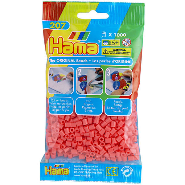 Pack of 1000 Hama Midi Beads - Pastel Red (207-44)