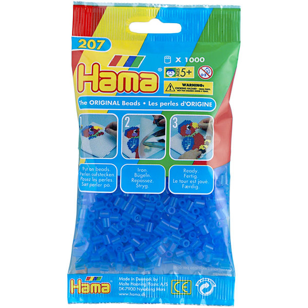 Pack of 1000 Hama Midi Beads - Transparent Blue (207-15)
