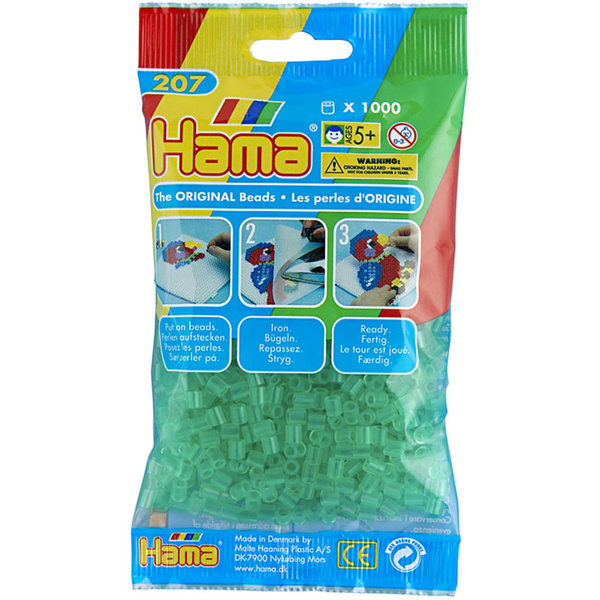 Pack of 1000 Hama Midi Beads - Transparent Green (207- 16)