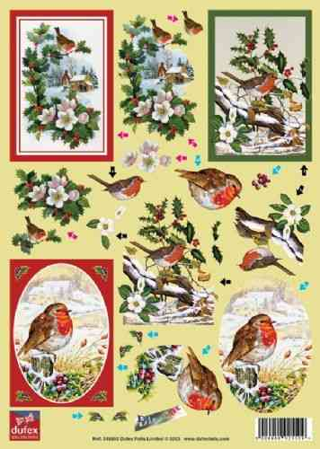Dufex Die Cut Decoupage - Christmas Robins (258892)