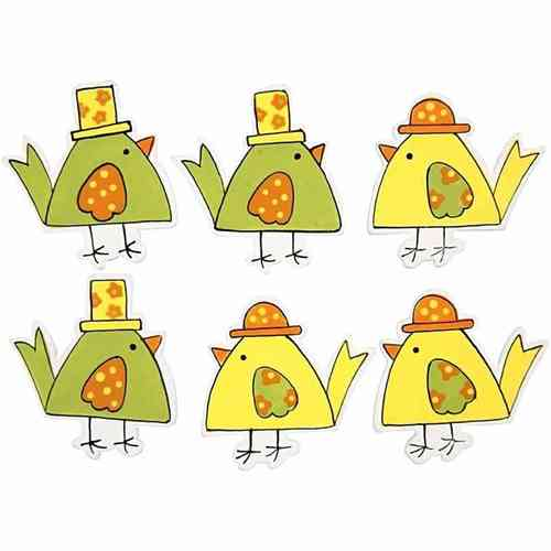 Assorted Wooden Self Adhesive Chickens Pack of 6