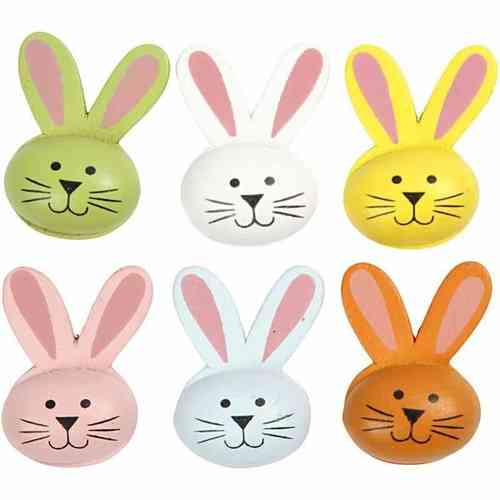Assorted Wooden Self Adhesive Rabbit Heads Pack of 6