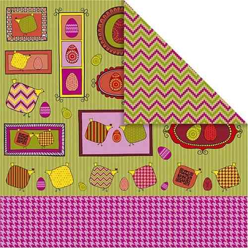 Double Sided 12x12 Design Paper 'Helsinki' - Chickens, Eggs and Zig Zags