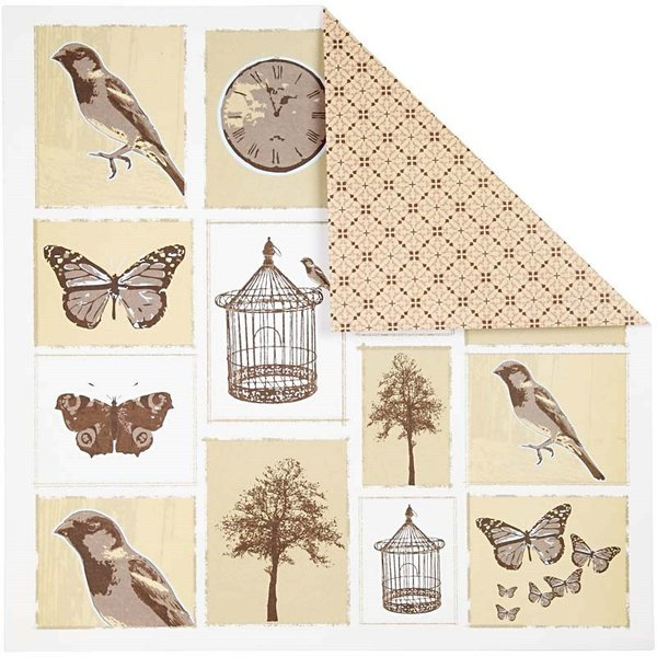 Double Sided 12x12 Design Paper 'Oslo' - Birds and Butterflies